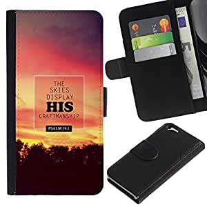 Billetera de Cuero Caso Titular de la tarjeta Carcasa Funda para Apple Iphone 6 4.7 / BIBLE The Skies Display His Craftmanship - Psalm 19:1 / STRONG