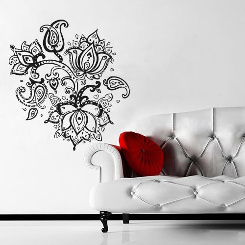 Amazoncom Wall Decal Art Decor Decals Sticker Mehendi Flower - Wall decals india