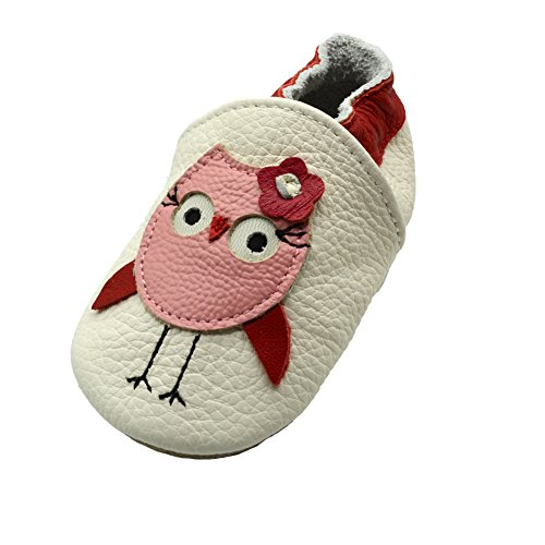 - iEvolve Baby Leather Shoes Soft First Walker Shoes Crib Shoes Moccasins for Toddlers(Red Owl, 12-18 Months)