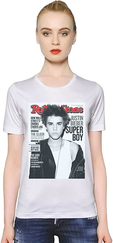Rolling Stone Justin Bieber La camiseta de las mujeres Women T-Shirt Girl Ladies Stylish Fashion Fit Custom Apparel By Genuine Fan Merchandise XX-Large: Amazon.es: Ropa y accesorios