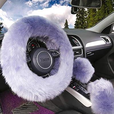 Yontree Fashion Fluffy Steering Wheel Covers for Women/Girls/Ladies Australia Pure Wool 15 Inch 1 Set 3 Pcs (Gray): Automotive