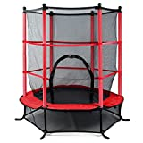 Beyondfashion 55' 4.5FT Blue/Pink/Green Trampoline Junior Kids Outdoor Activity Fun With Safety Net (B-Red)