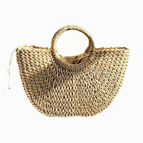 (Olici Vacation Tourism Beach Bags Casual Straw Plaits Handbags Handbags Woven Ladies' Handbags Handmade Grass Bags Khaki)