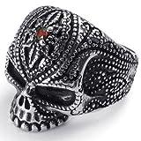 kalendone Retro Punk Skull Mens Anillo de diamantes de imitación de acero inoxidable, Color Rojo Plata Negro Tamaño US 8, Anillo De Acero Inoxidable