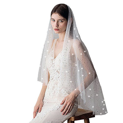 ARHSSZY Two Layer White Star Sequins Wedding Veils 2 Tier Bridal Veil With Comb