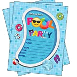 Pool Party Invitations, Summer Birthday Pool Party Bash, Splash Pad, Water Park Invites, 25 Fill in Pool Party Invitations with Envelopes for Boys or Girls