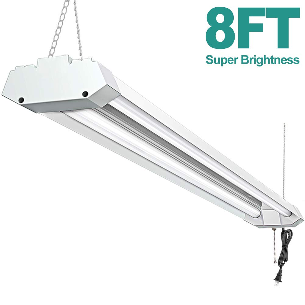 Addlon 8FT LED Shop Light 72W 5000K 8000Lumen Led Garage Ceiling Lighting Strip Light Double Integrated Utility Light Fixture