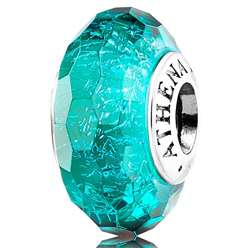 ATHENAIE Genuine Murano Glass 925 Silver Core Faceted Fascinating Iridescence Teal Shimmer Charms Bead for Bracelet Mother's Day Gift