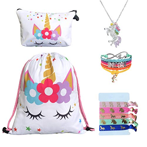 Unicorn Gifts for Girls - Unicorn Drawstring Backpack/Makeup Bag/Bracelet/Inspirational Necklace/Hair Ties (White Star with Crystal Necklace) from Doctor Unicorn
