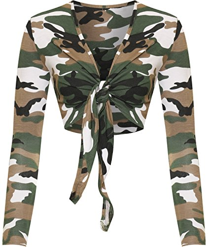 7a4269c254c WearAll Womens Tied Front Crop Top Leopard Tartan Long Sleeve Shrug Multi -  Camouflage - US
