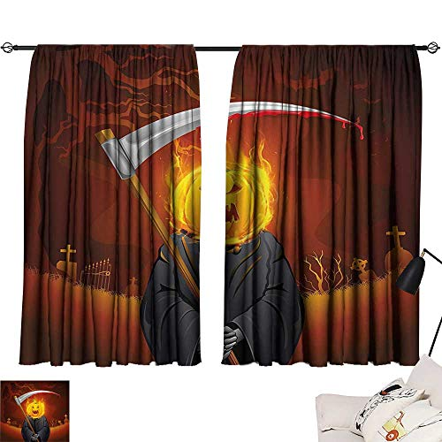 Anzhutwelve Room Darkening Curtains Halloween Decorations,Pumpkin Grim Head Burning Flames Character Scary Creature Nightmare,Orange Grey W55 x L45 Draperies for Girls Room ()