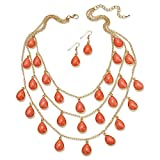 """Palm Beach Jewelry Orange Simulated Coral Gold Tone Cabochon Triple-Strand Necklace and Earrings Set 18"""""""