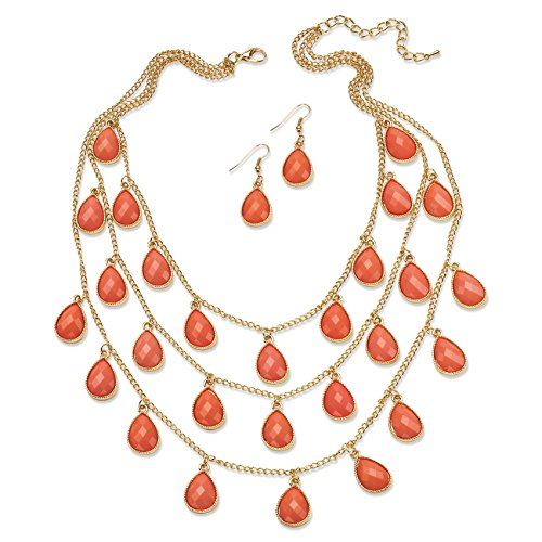Palm Beach Jewelry Orange Simulated Coral Gold Tone Cabochon Triple-Strand Necklace and Earrings Set 18