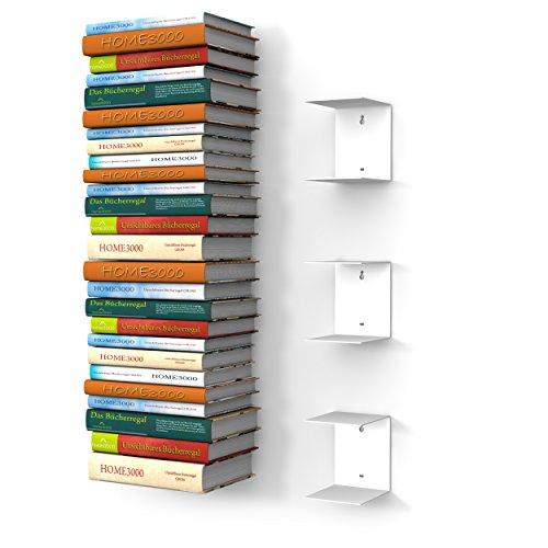 Mensole Per Libri.Home3000 3 Mensole Libreria Grande Invisibili Colore Bianco Con 6 Scomparti Altezza Fino A 150 Cm Per Mettere I Libri In Pila Per Libri Con