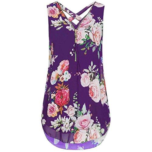 CUCUHAM Women Loose Flowers Chiffon Sleeveless Tank V-Neck Zipper Hem Scoop Tshirts Tops(ZZ-Purple, XXL)