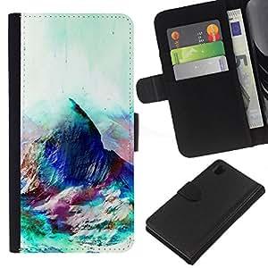 LECELL--Cuero de la tarjeta la carpeta del tirón Smartphone Slots Protección Holder For Sony Xperia Z1 L39 -- Geometría psicodélico Montaña --