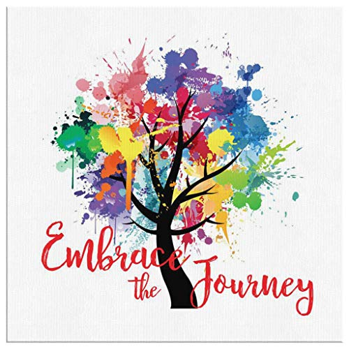 EMBRACE THE JOURNEY Paint Splash Design Inspirational Life Quote Beautiful Decor Gift For Home Office or Studio Hanging Canvas Wall Art (40
