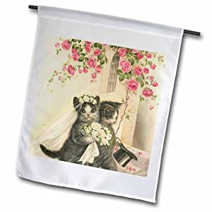 """3dRose fl_172508_2 Cats Getting Married Garden Flag, 18 by 27"""""""