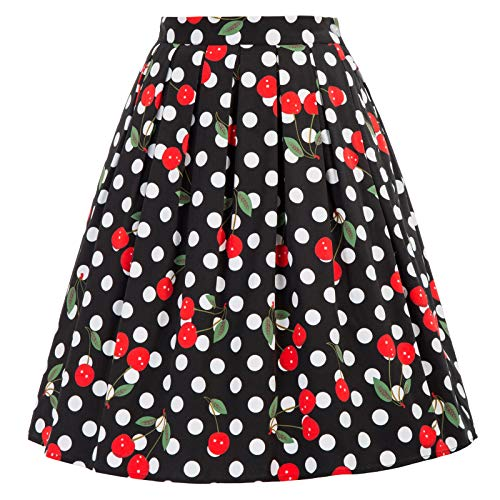 GRACE KARIN A-line Skirt Pocket Cherry Skirt Knee Length Size L - Waist Gathered Skirt