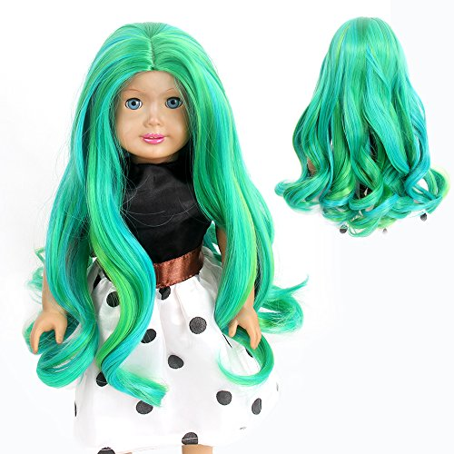 STfantasy American Girl Doll Wigs Ombre Green Highlights Long Curly Wavy Hairpiece