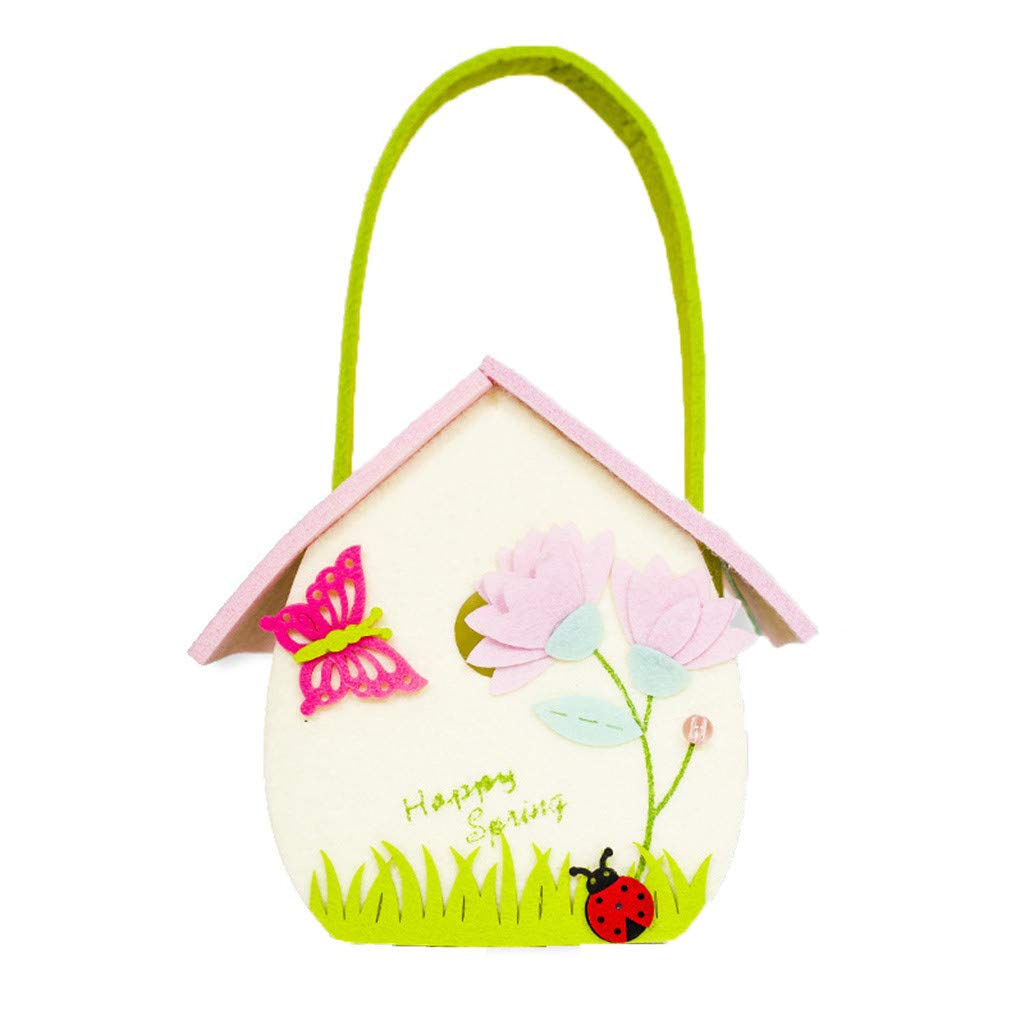 IEasⓄn Housekeeping & Organizers, Beautiful Spring Sign Candy Bag Storage Basket Home Accessory Decoration IE-NN2426 (Multicolor-B)