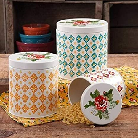 The Pioneer Woman 3 Piece Vintage Geo Canister Set