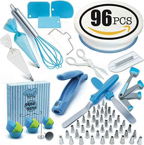 Cake Decorating Supplies Set 96 Pcs by Pepe Nero–Icing Tips, Rotating Turntable, Measuring Spoons, Icing Tools& Others For Birthdays, Cookies, Baking,Frosting, Pastry, Cupcakes, Weddings & more by Pepe Nero