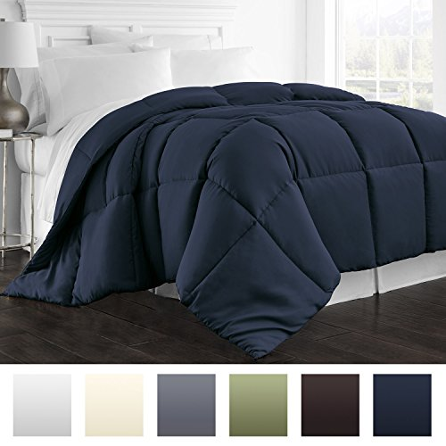 Beckham Hotel Collection 1800 Series - All Season - Luxury Goose Down Alternative Comforter - Hypoallergenic  - Twin/Twin XL - Navy - Twin Down Comforter Xl