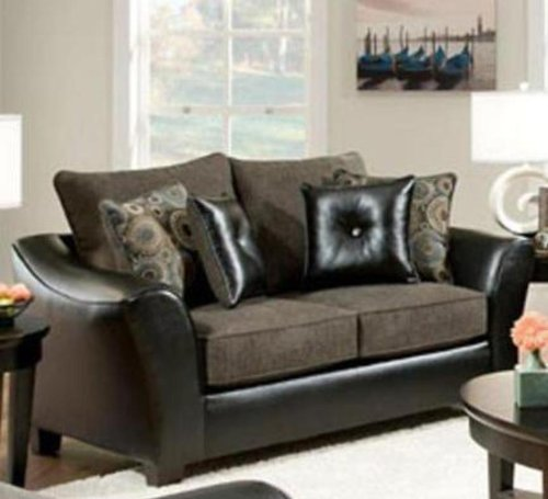 Chelsea Home Furniture Union Loveseat, Pinnacle/PU Gray/Miraculous Charcoal/PU Pillows(4)