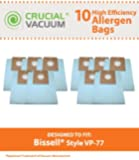 10 Bissell VP-77 Vacuum Bags, Fits Bissell Power Partner Canister Vacuums & Power Partner Plus Canister Vacuums, Compare to Part # 203-2026 & 2032026, Designed & Engineered by Crucial Vacuum