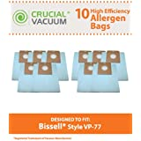 10 Vacuum Bags for Bissell VP-77 Power Partner & Power Partner Plus Canisters; Compare to Bissell Part No. 2032026; Designed by Think Crucial