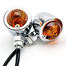 Motorcycle 2 pcs Chrome Amber Turn Signals Lights For Honda VT Shadow Ace Classic 500 700 750 1100