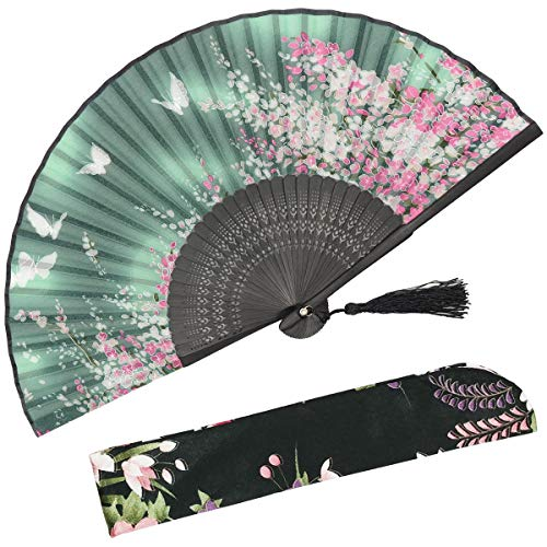 OMyTea Women Hand Held Silk Folding Fan with Bamboo Frame - with a Fabric Sleeve for Protection for Gifts - Sakura Cherry Blossom Pattern (WZS-2)]()