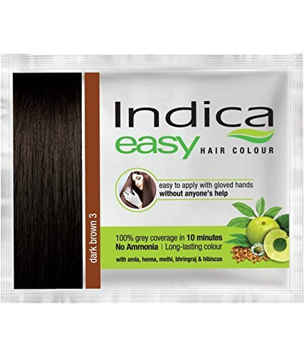 Nexxa 5 Pc Indica Easy10 Minutes Herbal Hair Color Shampoo Base Dark Brown Herbs
