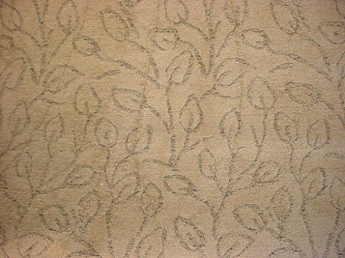 285H2 - Tortilla Brown / Soft Black Leaf / Stem Chenille Damask Decorative Designer Upholstery Drapery Fabric - By the - Fabric Medium Chenille Brown