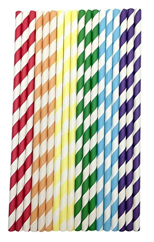 Feccile 200Pcs Drink Paper Straws Birthday Party Picnics Camping Supplies by Feccile Kitchen (Image #1)