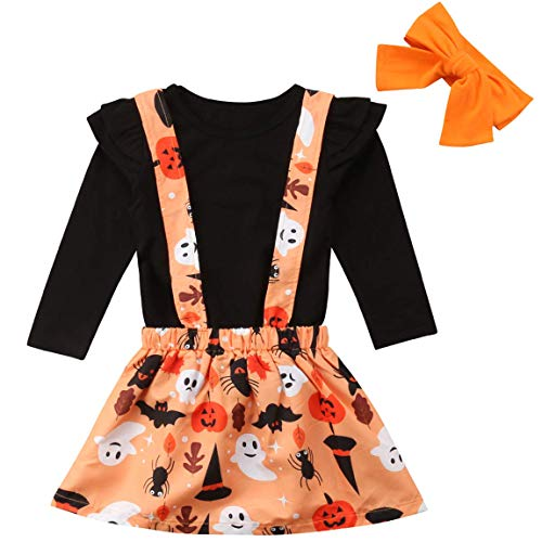 Baby Girls Halloween Outfits Long Sleeve Black T-Shirt Tops+Pumpkin Ghost Suspender Skirt+Headband Clothes Sets (1-2T, Black)