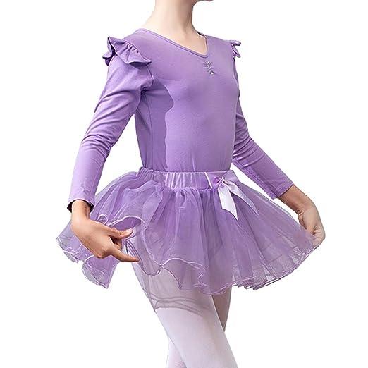 Lefuku Gimnasia Danza Leotardo Traje de Ballet de Manga Larga para ...