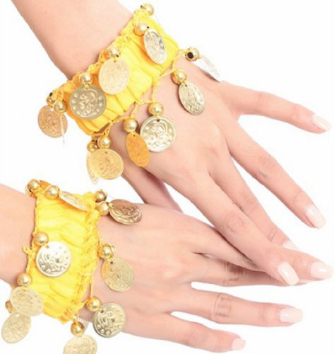 BellyLady Belly Dance Wrist Ankle Cuffs Bracelets, Halloween Costume Accessory YELLOW (Halloween Accessories)