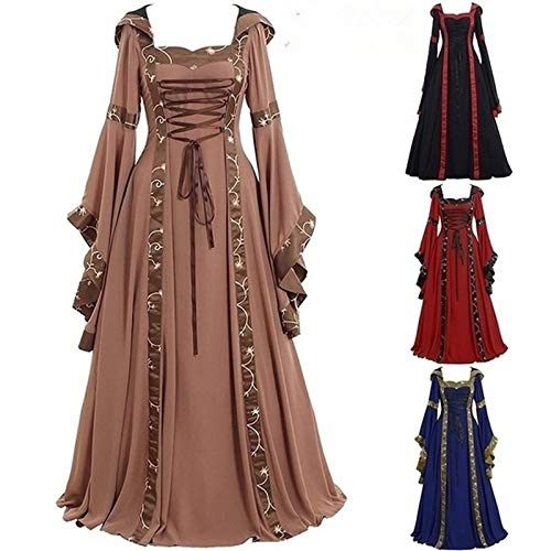 005fe8cb4ff maledery Gown and Cosplay Costume Long Sleeve Dress Medieval Vintage Frill  Frock Dress Party Ball Gowns Wedding Dress Floor Length Renaissance Gothic  ...