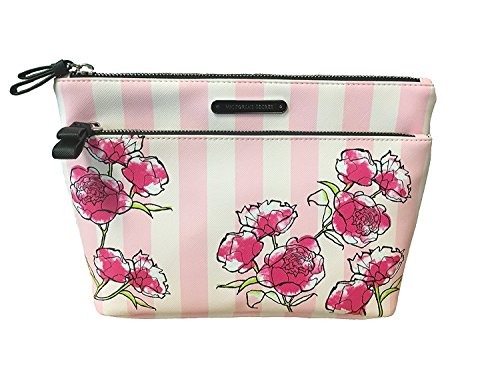 Victoria's Secret Iconic Stripes Cosmetic Make Up Bag Tote Double Zipper (Secret Victoria Cosmetic)