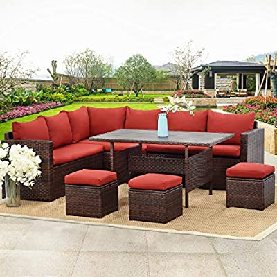 Wisteria Lane Patio Furniture Set, 7 PCS Outdoor Conversation Set All Weather Brown Wicker Sectional Sofa Couch Dining Table Chair with Ottoman,Wine Red Cushion - COMFORTABLE CUSHION - This outdoor patio dining set comes with durable beige fabric, can last for longer time. Thicker resilience sponge adds extra comfort for each moment. HANDWORK MATERIAL - Made of strong galvanized steel frame and all-weather hand woven PE rattan, give you a weather resistant set that will last your for years to come EXQUISITE DESIGN - Combine the functionality of wood and iron with the comfort of wicker has a refined classic style,easier to match any preexisting decor - patio-furniture, patio, conversation-sets - 519aKIBrShL. SS400  -