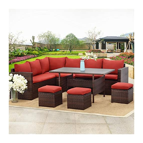 Wisteria Lane Patio Furniture Set, 7 PCS Outdoor Conversation Set All Weather Brown Wicker Sectional Sofa Couch Dining Table Chair with Ottoman,Wine Red Cushion - COMFORTABLE CUSHION - This outdoor patio dining set comes with durable beige fabric, can last for longer time. Thicker resilience sponge adds extra comfort for each moment. HANDWORK MATERIAL - Made of strong galvanized steel frame and all-weather hand woven PE rattan, give you a weather resistant set that will last your for years to come EXQUISITE DESIGN - Combine the functionality of wood and iron with the comfort of wicker has a refined classic style,easier to match any preexisting decor - patio-furniture, patio, conversation-sets - 519aKIBrShL. SS570  -