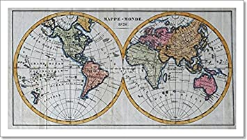 Amazon original antique world map paper print wall art 9in x original antique world map paper print wall art 9in x 16in gumiabroncs Choice Image