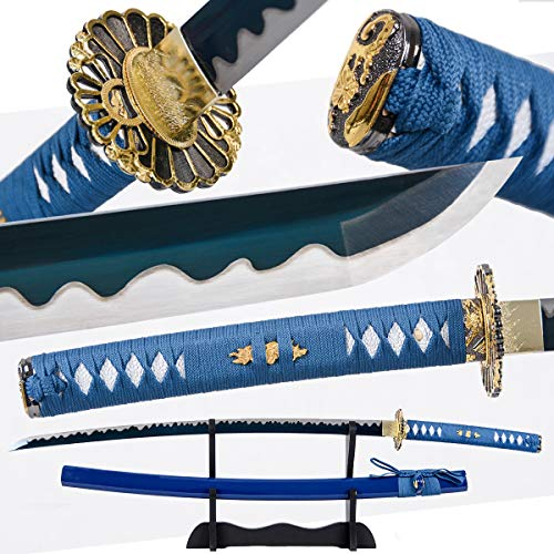 Eroton-1045/1060/1095 high Carbon Cold Steel Heat Tempered Full Handmade Hand Forged Japanese Real Authentic Samurai Katana Sword,Full Tang,Functional,Practical,Sharp,Blue,2.7lb ...