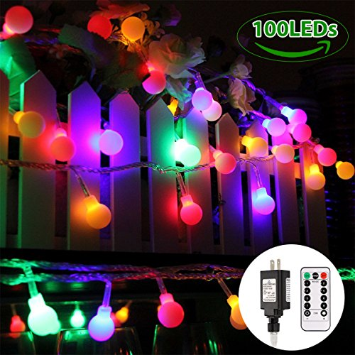 Globe String Lights, 100 LED Colored Fairy Lights Waterproof, String Lights Plug in, 44 Ft, Warm White String Light with Remote Control for Patio Garden Party Xmas Tree Wedding (Decorative Party Tent)