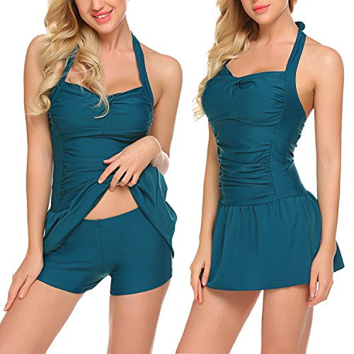 ADOME Women Swimwear Two Piece Swimsuit Halter Tankini Push up Padded Swimdress Green XL