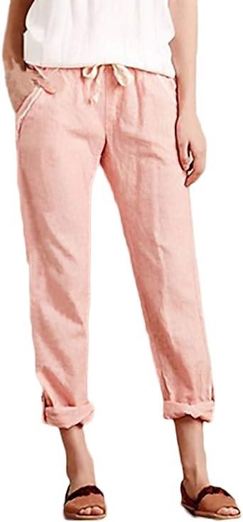 Pantalones Mujer Elegantes Moda Casual Anchos Comodos Tallas Grandes Cintura Elastica Pantalon Lino Amazon Es Ropa Y Accesorios