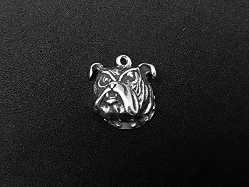 (Bulldog Head Charm Sterling Silver 15mm, silver Bulldog Charms, 925 Sterling Silver Charms, Dog charms, Bulldog Head charms -)