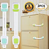 Child Safety Locks Baby Child Door Cabinets Latches for Drawer Refrigerator Toilet Washing Machine Trash Can and Etc Blue Green 2Pcs